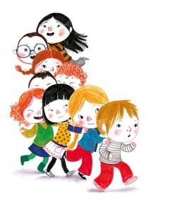 Ilustración de Amélie Graux. La hora del patio. Reencontrarse y jugar con los amigos es lo mejor del primer día de clase.