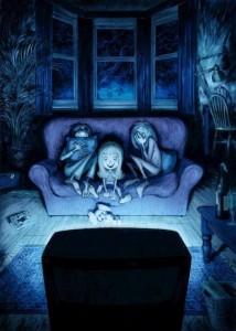 Películas terroríficas para niños. Ilustración de Nelson Evergreen