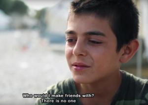 niños refugiados. Mustafa