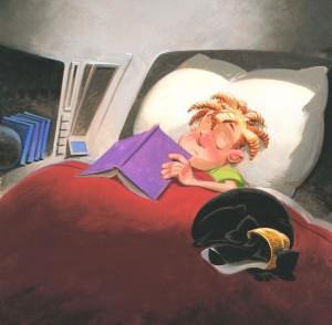 Cuántas veces nos dormimos con el libro entre las manos! Feliz lectura, felices sueños (ilustración de John Manders)