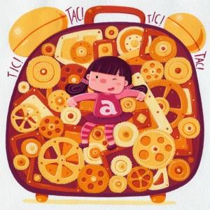 Ilustración de Silvia Sponza. De nuevo hemos de madrugar y poner el despertador.