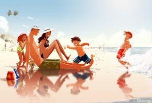 VACACIONES EN FAMILIA. Ilustracion de Pascal Campion