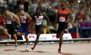 Bolt, en la recta de meta por delante de Edward, Gemili y Hortelano. John Sibley REUTERS