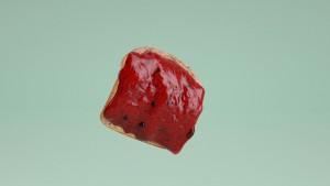 Una tostada a punto de caer del lado de la mermelada (o no). Florent Porta
