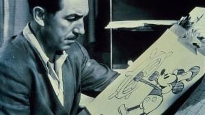 Walt Disney, en 1940, con Mickey Mouse, el personaje que le lanzó a la fama