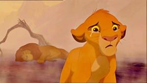 Simba al quedar huérfano en EL REY LEÓN