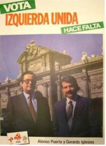 Cartel de Izquierda Unida para las elecciones generales de 1986 con Alonso Puerta y Gerardo Iglesias.