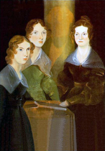 Anne, Emily y Charlotte Brontë retratadas por su hermano Branwell (1834). Branwell está representado entre sus hermanas, casi invisible, detrás de ellas.