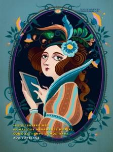 """Ilustración de Ada Lovelace para el libro """"Cuentos de buenas noches para niñas rebeldes"""" © Elisabetta Stoinich."""