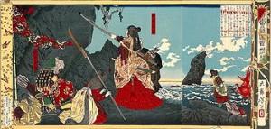 Pintura de 1880 en que la emperatriz consorte Jingū llega a Corea.