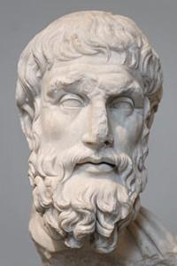 Epicuro (aproximadamente 341 a. C. - 270 a. C.) fue un filósofo griego, fundador de la escuela que lleva su nombre (epicureísmo). Busto de Epicuro. Copia romana del siglo II de un original griego de la primera mitad del siglo III a. C. Museo Metropolitano de Arte de Nueva York.