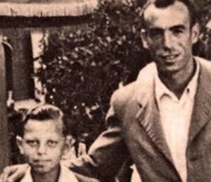 Saturnino Navazo con el pequeño Luis poco después de ser liberados ÁLBUM PERSONAL DE SIEGFRIED MEIR - CRÓNICA
