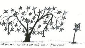 Un árbol de estrellas dibujado en uno de los manuscritos de Saint Exupéry. Lunwerg. Enciclopedia ilustrada.