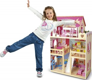 Casas de muñecas de madera de juguete para niñas y niños