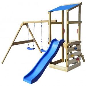 Columpios y toboganes de madera para terraza y jardín para los niños