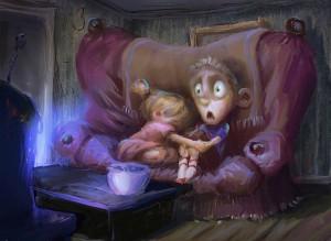 Películas terroríficas para niños. Ilustración de Marco Bucci