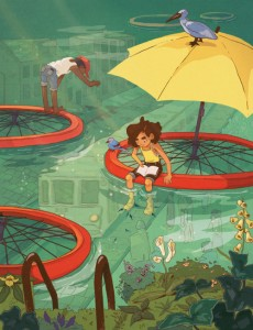 Imaginando el frescor de la lectura (ilustración de Jameela Wahlgren)