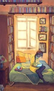 Cómo mejorar la comprensión lectora en niños de primaria | Lectura digital en la intimidad | Ilustración de Paper Pie
