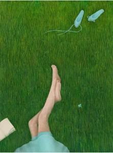Leyendo en el campo placeres del verano (ilustración de Galia Zin'ko)