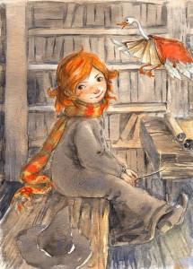 Magia en la biblioteca (ilustración de Nata)