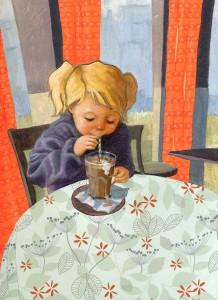 Hábitos saludables en los niños. Un batido de chocolate para merendar. Ilustración de Linda Olafsdottir