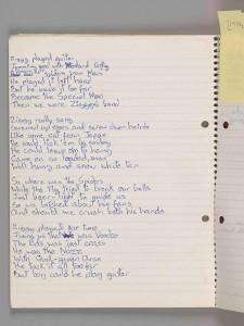 Manuscrito de 'Ziggy Stardust' que puede verse en la exposición. (VA Museum)