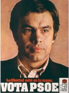 Un jovencísimo Felipe González lucía así en los carteles de 1977.