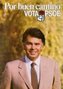 Este fue el cartel con el que González luchó por la reelección en 1986.