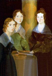 Cuentos de buenas noches para niñas rebeldes. Anne, Emily y Charlotte Brontë retratadas por su hermano Branwell (1834). Branwell está representado entre sus hermanas, casi invisible, detrás de ellas.