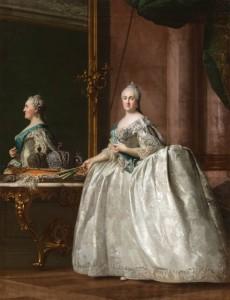 Cuentos de buenas noches para niñas rebeldes. 'Retrato de Catalina II delante de un espejo' (1763), de Vigilius Eriksen.