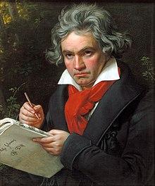 Ludwig van Beethoven (16 de diciembre de 1770 - 26 de marzo de 1827) fue un compositor, director de orquesta y pianista alemán. Su legado musical abarca, cronológicamente, desde el Clasicismo hasta los inicios del Romanticismo. Es considerado generalmente como uno de los compositores más preclaros e importantes de la historia de la música y su legado ha influido de forma decisiva en la evolución posterior de este arte. Retrato realizado por Joseph Karl Stieler en 1820.