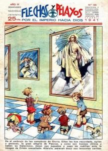 Maravillas fue, en un principio, un suplemento de la revista infantil 'Flechas y Pelayos', vinculada a la Falange Española Tradicionalista y de las JONS, se publicó semanalmente desde 1939 hasta 1954, con 705 números ordinarios y 10 almanaques. Entre sus colaboradores destaca Gloria Fuertes. Ejemplo de esta colaboración la historieta 'No hay mal que dure siempre', aparecida en esta portada del número 82 de 'Maravillas', del 13 de abril de 1941.