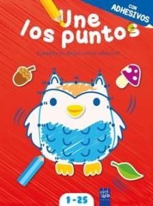 Juegos de ingenio para niños | Une los puntos, cuaderno rojo (con adhesivos). Del 1 al 25