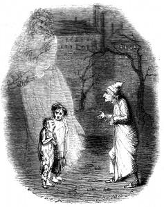 Cuento de Navidad de Charles Dickens | Ebenezer Scrooge se encuentra con la Ignorancia y la Miseria en Cuento de Navidad.