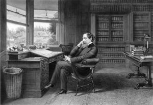 Grabado de Dickens en su estudio de Gads Hill.