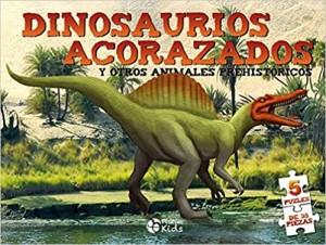 Libros de dinosaurios para niños y adultos | Dino Puzles. Dinosaurios acorazados. 5 puzles de 35 piezas | +8 años | 10 páginas