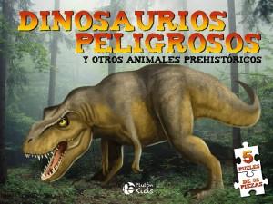 Libros de dinosaurios para niños y adultos | Dino Puzles. Dinosaurios peligrosos. 5 puzles de 35 piezas | +8 años | 10 páginas