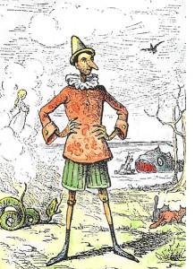 Pinocho de Enrico Mazzanti (1852-1910), el primer ilustrador (1883) de Le avventure di Pinocchio. Storia di un burattino - coloreado por Daniel DONNA