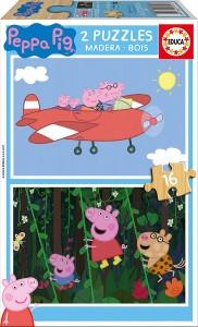 Juguetes y cuentos de Peppa Pig | 2 puzzles de madera de Peppa Pig | De 3 a 4 años
