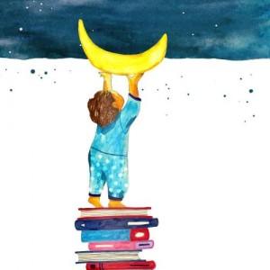Cómo mejorar la comprensión lectora en niños de primaria | Dame libros y alcanzaré la luna | Ilustración de Georgiana Chitac