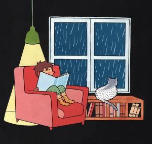 Cómo mejorar la comprensión lectora en niños de primaria | Mejor quedarse en casa leyendo. ¿A qué sí? | Ilustración de Bernat Muntés