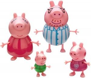 Juguetes y cuentos de Peppa Pig | Pack de 4 figuras de la familia Pig en pijama | A partir de 3 años