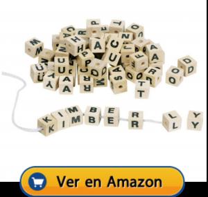 Motricidad fina | Actividades, juegos y juguetes | Surtido de dados de letras para hilar | A partir de 4 años (con atención porque contiene piezas pequeñas)