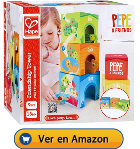 Motricidad fina | Actividades, juegos y juguetes | Bloques de cartón apilables Pepe & friends | A partir de 18 meses